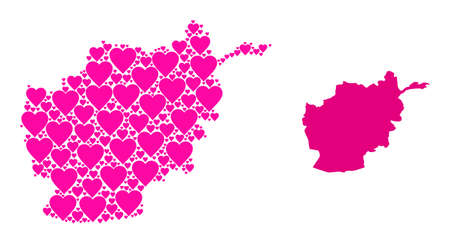 Love collage and solid map of Afghanistan. Mosaic map of Afghanistan formed with pink love hearts. Vector flat illustration for love conceptual illustrations.