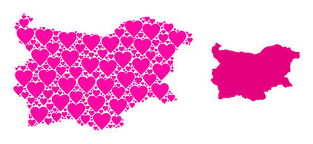 Love mosaic and solid map of Bulgaria. Mosaic map of Bulgaria formed from pink valentine hearts. Vector flat illustration for love conceptual illustrations.