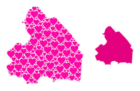 Love pattern and solid map of Drenthe Province. Collage map of Drenthe Province created with pink lovely hearts. Vector flat illustration for dating concept illustrations.
