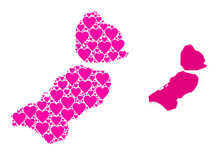 Love mosaic and solid map of Flevoland Province. Collage map of Flevoland Province is formed with pink lovely hearts. Vector flat illustration for dating abstract illustrations.