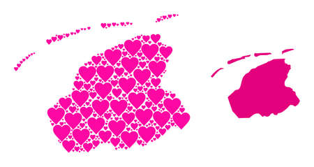Love pattern and solid map of Friesland Province. Mosaic map of Friesland Province designed from pink love hearts. Vector flat illustration for love concept illustrations. Vectores