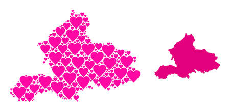 Love collage and solid map of Gelderland Province. Collage map of Gelderland Province is formed with pink lovely hearts. Vector flat illustration for love concept illustrations. Vectores