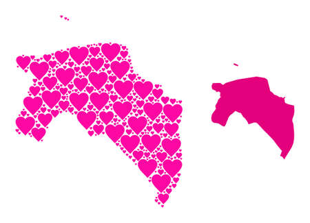 Love collage and solid map of Groningen Province. Mosaic map of Groningen Province is created with pink love hearts. Vector flat illustration for love concept illustrations. Vectores