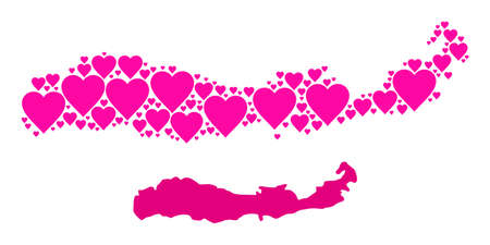 Love collage and solid map of Indonesia - Flores Island. Collage map of Indonesia - Flores Island composed from pink love hearts. Vector flat illustration for love concept illustrations.