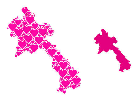 Love mosaic and solid map of Laos. Mosaic map of Laos formed with pink hearts. Vector flat illustration for love concept illustrations. Ilustração