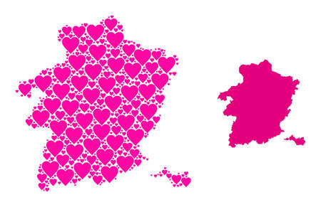 Love collage and solid map of Limburg Province. Collage map of Limburg Province is formed with pink hearts. Vector flat illustration for dating abstract illustrations.