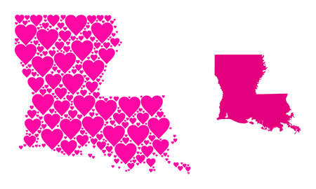 Love mosaic and solid map of Louisiana State. Mosaic map of Louisiana State is formed from pink lovely hearts. Vector flat illustration for love conceptual illustrations.
