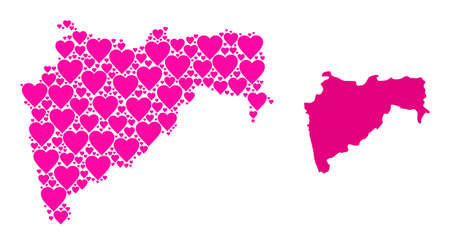 Love pattern and solid map of Maharashtra State. Collage map of Maharashtra State is designed with pink valentine hearts. Vector flat illustration for love abstract illustrations.