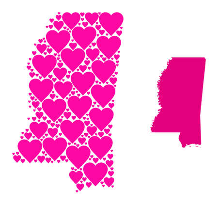 Love mosaic and solid map of Mississippi State. Mosaic map of Mississippi State formed from pink love hearts. Vector flat illustration for love conceptual illustrations.