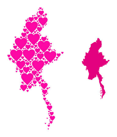Love collage and solid map of Myanmar. Mosaic map of Myanmar is designed with pink hearts. Vector flat illustration for love concept illustrations.