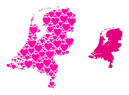 Love collage and solid map of Netherlands. Collage map of Netherlands is composed with pink lovely hearts. Vector flat illustration for love abstract illustrations.