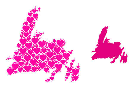 Love collage and solid map of Newfoundland Island. Collage map of Newfoundland Island formed with pink love hearts. Vector flat illustration for dating concept illustrations. Vecteurs