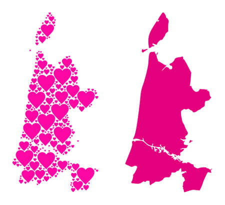 Love mosaic and solid map of North Holland. Mosaic map of North Holland is created from pink love hearts. Vector flat illustration for love abstract illustrations.