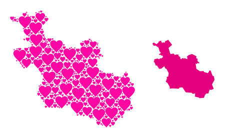 Love mosaic and solid map of Overijssel Province. Mosaic map of Overijssel Province is formed from pink love hearts. Vector flat illustration for love abstract illustrations.