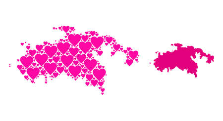 Love collage and solid map of Saint John Island. Mosaic map of Saint John Island formed with pink valentine hearts. Vector flat illustration for love conceptual illustrations.