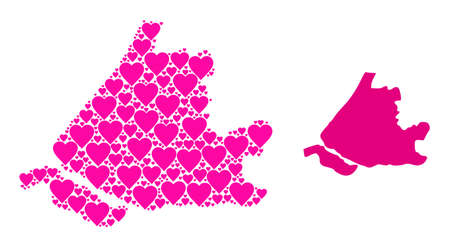 Love collage and solid map of South Holland. Collage map of South Holland is formed with pink love hearts. Vector flat illustration for marriage concept illustrations. Vectores