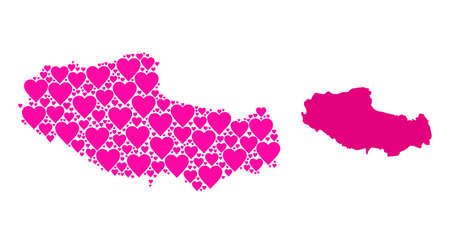 Love pattern and solid map of Tibet. Collage map of Tibet is created from pink lovely hearts. Vector flat illustration for love abstract illustrations.