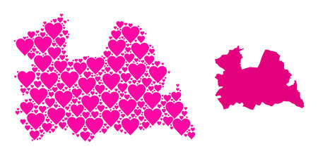 Love collage and solid map of Utrecht Province. Collage map of Utrecht Province designed with pink hearts. Vector flat illustration for love concept illustrations.