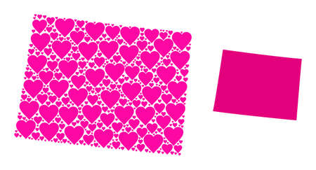 Love mosaic and solid map of Wyoming State. Mosaic map of Wyoming State designed with pink lovely hearts. Vector flat illustration for marriage concept illustrations.