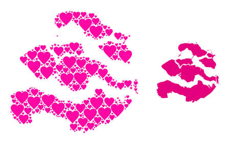 Love collage and solid map of Zeeland Province. Collage map of Zeeland Province is composed with pink lovely hearts. Vector flat illustration for love abstract illustrations. Vectores