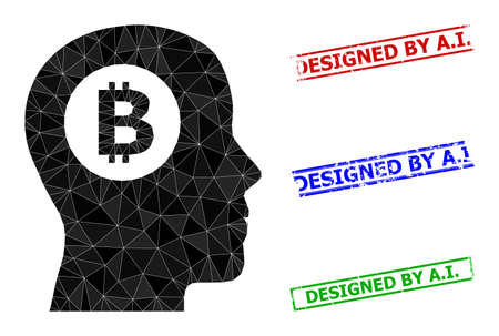 Triangle bitcoin thinking polygonal icon illustration, and distress simple Designed by A.I. seals. Bitcoin Thinking icon is filled with triangles. Simple seals uses lines, rects in red, blue,
