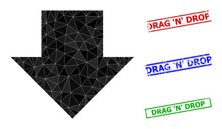 Triangle download arrow polygonal symbol illustration, and rubber simple Drag N Drop stamp seals. Download Arrow icon is filled with triangles. Simple seals uses lines, rects in red, blue, 일러스트