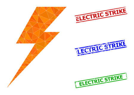 Triangle electric strike polygonal icon illustration, and scratched simple Electric Strike rubber seals. Electric Strike icon is filled with triangles. Simple seals uses lines, rects in red, blue, 일러스트