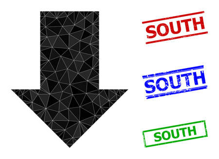 Triangle fall down arrow polygonal icon illustration, and grunge simple South seals. Fall Down Arrow icon is filled with triangles. Simple seals uses lines, rects in red, blue, green colors.