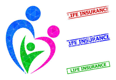 Triangle familty care polygonal icon illustration, and distress simple Life Insurance seals. Familty Care icon is filled with triangles. Simple imprints uses lines, rects in red, blue, green colors.