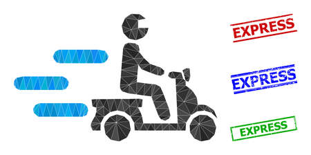 Triangle fast motorbike polygonal 2d illustration, and distress simple Express stamp seals. Fast Motorbike icon is filled with triangles. Simple stamp seals uses lines, rects in red, blue, 일러스트