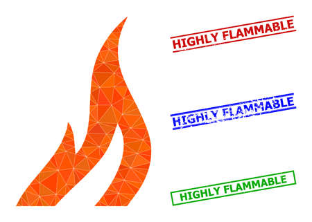 Triangle fire polygonal icon illustration, and rubber simple Highly Flammable watermarks. Fire icon is filled with triangles. Simple watermarks uses lines, rects in red, blue, green colors.