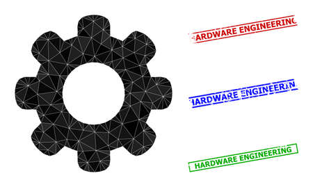 Triangle gear wheel polygonal icon illustration, and scratched simple Hardware Engineering seals. Gear Wheel icon is filled with triangles. Simple seals uses lines, rects in red, blue, green colors.