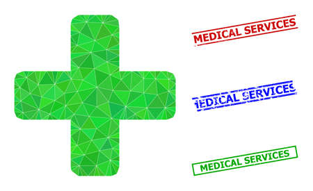 Triangle green cross polygonal icon illustration, and rubber simple Medical Services stamp prints. Green Cross icon is filled with triangles. Simple imprints uses lines, rects in red, blue,