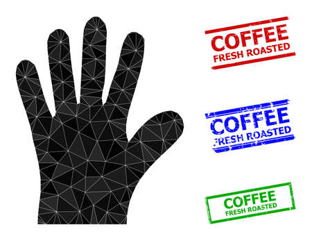 Triangle hand palm polygonal icon illustration, and distress simple Coffee Fresh Roasted stamp seals. Hand Palm icon is filled with triangles. Simple seals uses lines, rects in red, blue,