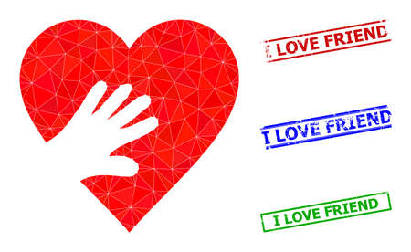 Triangle hand touch heart polygonal icon illustration, and textured simple I Love Friend rubber seals. Hand Touch Heart icon is filled with triangles. Simple stamp seals uses lines, rects in red, 일러스트