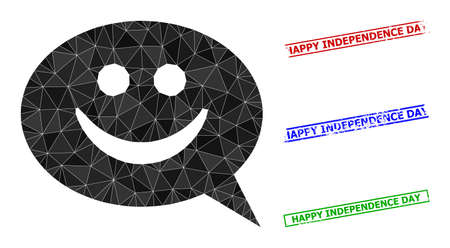 Triangle happy message polygonal icon illustration, and textured simple Happy Independence Day stamp seals. Happy Message icon is filled with triangles. Simple stamp seals uses lines, rects in red,
