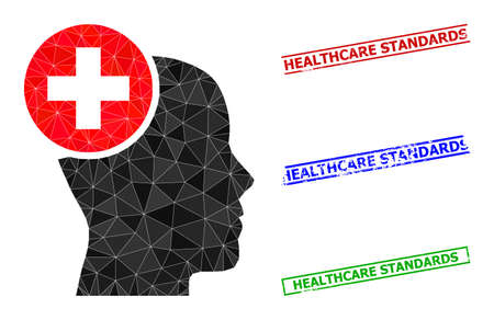 Triangle head treatment polygonal icon illustration, and scratched simple Healthcare Standards stamp imitations. Head Treatment icon is filled with triangles. Simple imprints uses lines, rects in red, Vetores