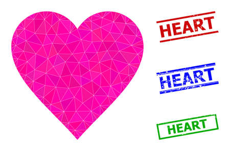 Triangle heart polygonal icon illustration, and grunge simple Heart rubber seals. Heart icon is filled with triangles. Simple stamp seals uses lines, rects in red, blue, green colors.