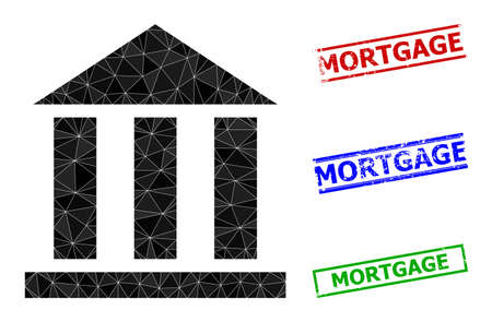 Triangle library office polygonal symbol illustration, and rough simple Mortgage stamp imitations. Library Office icon is filled with triangles. Simple stamp seals uses lines, rects in red, blue,