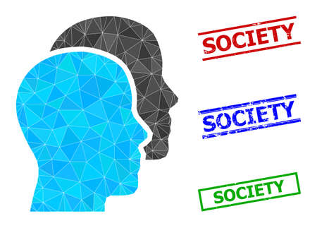 Triangle man heads polygonal icon illustration, and grunge simple Society seals. Man Heads icon is filled with triangles. Simple stamp seals uses lines, rects in red, blue, green colors.
