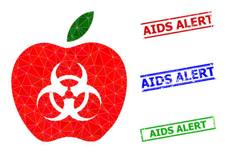 Triangle infected apple polygonal symbol illustration, and scratched simple AIDS Alert seals. Infected Apple icon is filled with triangles. Simple stamp seals uses lines, rects in red, blue,
