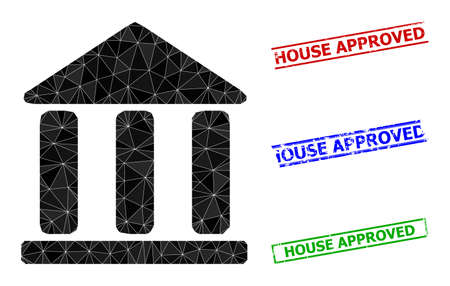 Triangle library building polygonal icon illustration, and grunge simple House Approved rubber seals. Library Building icon is filled with triangles. Simple seals uses lines, rects in red, blue, 일러스트