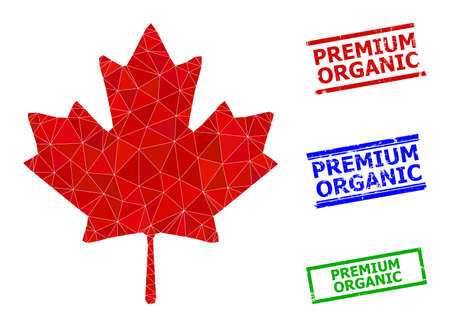 Triangle maple leaf polygonal icon illustration, and distress simple Premium Organic stamp imitations. Maple Leaf icon is filled with triangles. Simple stamp seals uses lines, rects in red, blue,