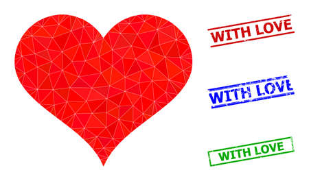 Triangle love heart polygonal icon illustration, and unclean simple With Love stamp seals. Love Heart icon is filled with triangles. Simple stamp seals uses lines, rects in red, blue, green colors. 일러스트