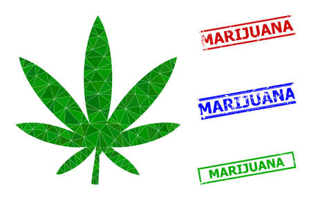 Triangle marijuana polygonal symbol illustration, and distress simple Marijuana stamp seals. Marijuana icon is filled with triangles. Simple stamp seals uses lines, rects in red, blue, green colors.