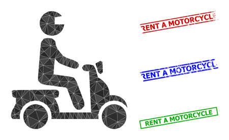 Triangle motorbike driver polygonal icon illustration, and scratched simple Rent a Motorcycle stamps. Motorbike Driver icon is filled with triangles. Simple stamps uses lines, rects in red, blue,