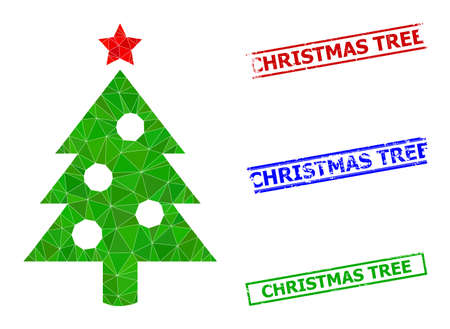 Triangle new year tree polygonal icon illustration, and rough simple Christmas Tree seals. New Year Tree icon is filled with triangles. Simple stamp seals uses lines, rects in red, blue, green colors. 일러스트