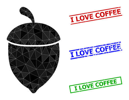Triangle oak acorn polygonal icon illustration, and distress simple I Love Coffee seals. Oak Acorn icon is filled with triangles. Simple stamp seals uses lines, rects in red, blue, green colors. 일러스트