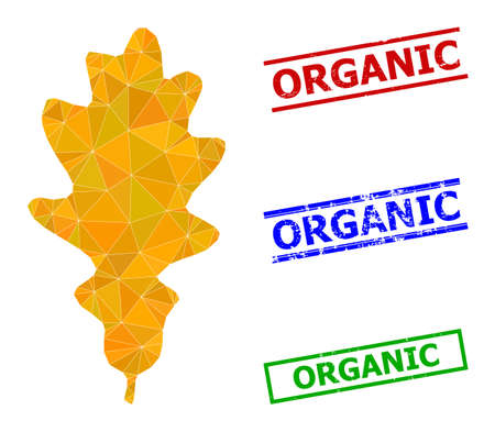 Triangle oak leaf polygonal symbol illustration, and distress simple Organic stamp seals. Oak Leaf icon is filled with triangles. Simple stamp seals uses lines, rects in red, blue, green colors. 일러스트