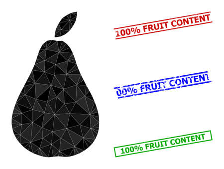 Triangle pear polygonal icon illustration, and rough simple 100% Fruit Content seals. Pear icon is filled with triangles. Simple imprints uses lines, rects in red, blue, green colors.